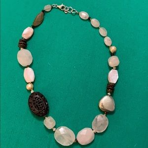 Silpada rose quartz, pearl, and wood bead necklace